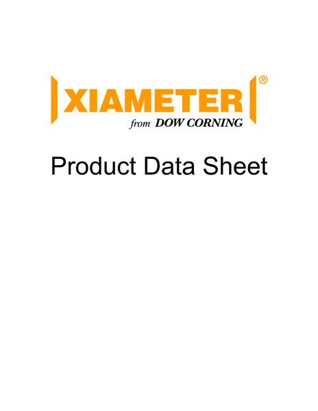 Xiameter Product Data Sheet Cover