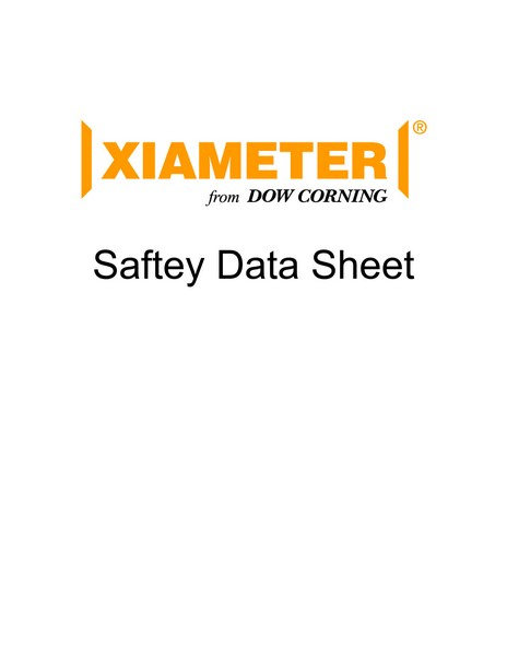 Xiameter Saftey Data Sheet Cover